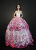 white ball gown pink sequined lace