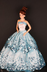 blue ball gown light sequined lace