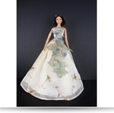 Ivory Gown With Large Flower Motif