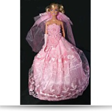 Pink Embroidered Barbie Sized Doll Wedding