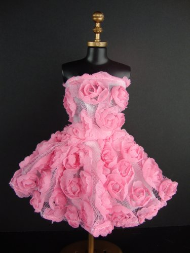 Pink Mini Dress Covered In Roses It - Barbie Clothing