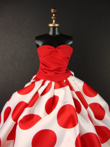Really Fun Red and White Polka Dot Gown Made to Fit Barbie Doll