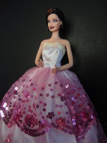 Strapless Pink and White Lace Gown Made to Fit Barbie Doll