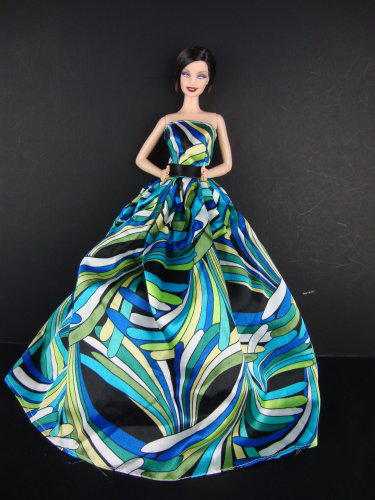 A Blue And Green Pucci Inspired Ball Gown Made To Fit The Barbie Doll