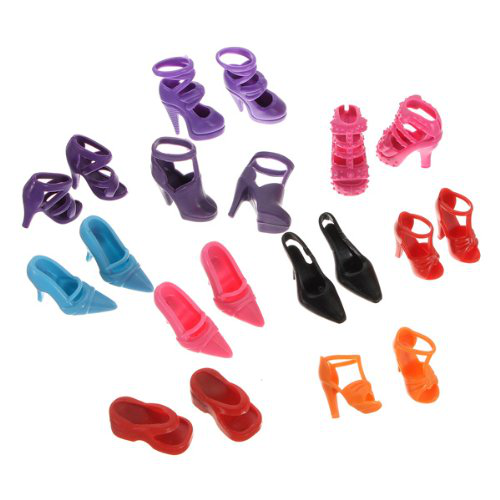 10 Pairs Doll Shoes Sandals Set For Barbie